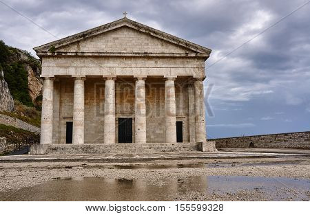 Pediment and columns of the church St.George in Corfu