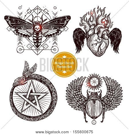 Occult Tattoo Sketch Concept. Occult Tattoo Hand Drawn Set. Magic Modern Tattoo Vector Illustration. Magic Occult Tattoo Symbols. Magic Occult Tattoo Design Set.