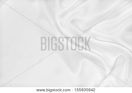 Smooth Elegant White Silk Or Satin Luxury Cloth Texture As Wedding Background. Luxurious Christmas B