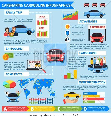 Carsharing carpooling infographics with advantages diagrams vehicles and colorful elements in flat style vector illustration
