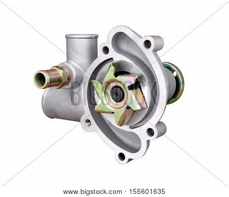 Pump of the cooling system of the automobile engine on a white background