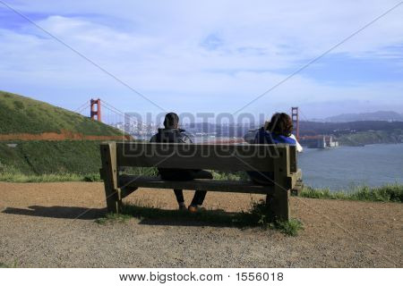 Tourists And Golden Gate