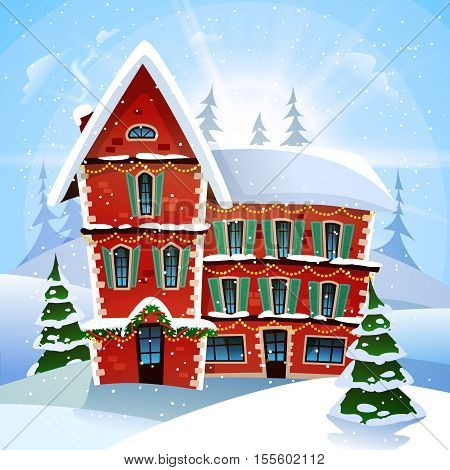 Christmas vector illustration with fabulous snowy red cottage at winter landscape and firs flat vector illustration