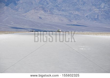 thick salt crust at Badwater Basin in Death Valley National Park, California