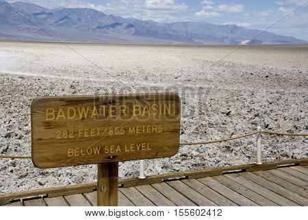 Badwater Basin sign in Death Valley National Park, California