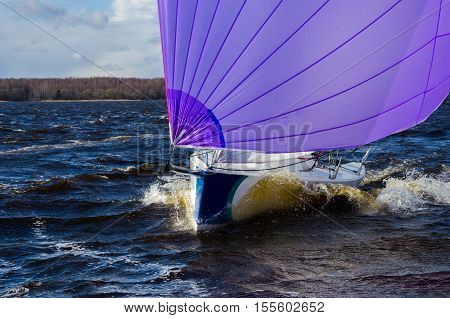 yacht in the swell at regatta, picture with space for text or logo