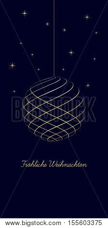 german christmas background with text Merry Christmas on dark blue background very soft gold colored elements christmas ball and stars isolated illustration