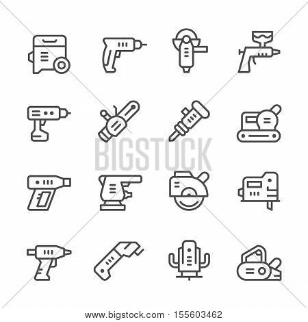 Set line icons of electric tools isolated on white. Vector illustration