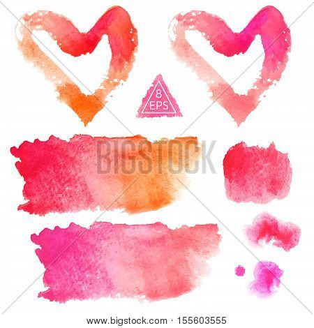 Set of pink and orange watercolor blots isolated on white background. Watercolor blot for your design, logo, emblem, banner. Vector.