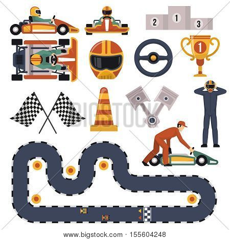 Flat design karting motor race track apparel equipment and drivers set isolated on white background vector illustration
