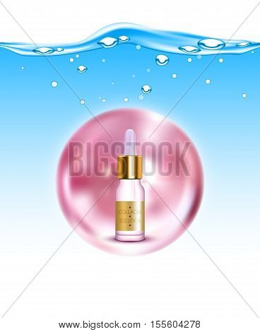 Anti-aging natural gold collagen production solution for skin hydration and elasticity background poster realistic vector illustration