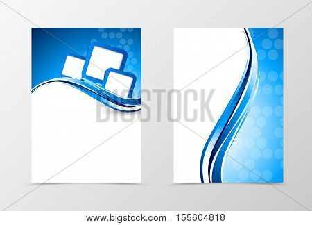 Front and back wave flyer template design. Abstract template with blue lines and cut out squares in smooth style. Vector illustration