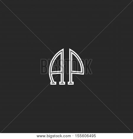 United Ap Logo Letters Together Thin Line Monogram, Coupled Capital Initials A And P Associated Embl
