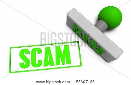 Scam Stamp or Chop on Paper Concept in 3d Illustration Render