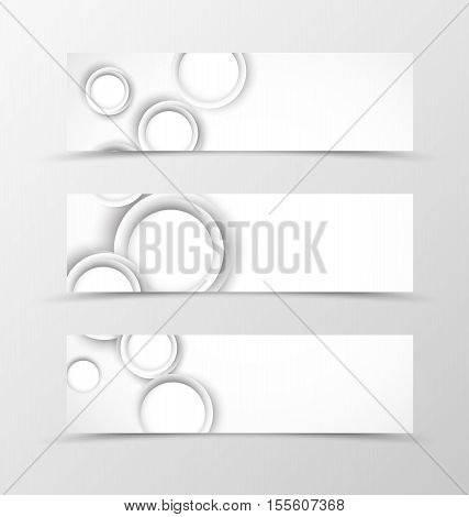 Set of header banner geometric design in gray colors with circles in dynamic style. Vector illustration