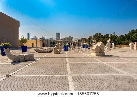 MANAMA, BAHRAIN - OCT 29, 2016: Concrete sculptures kept in front of  the Bahrain National Museum entrance.