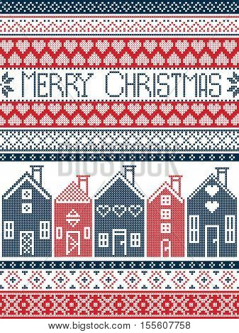 Scandinavian style and Nordic culture inspired Merry Christmas seamless Christmas card with  winter pattern including Swedish houses, decorative ornaments, snow, snowflakes  in cross stitch in dark blue, red