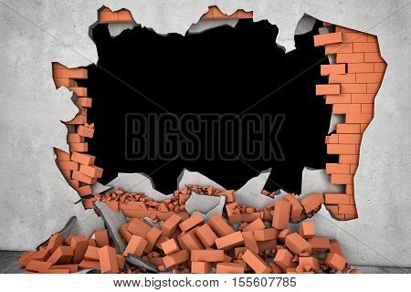 3d rendering of a broken wall with a black hole and a pile of rusty red bricks beneath. Construction and repair. Building and Reconstruction. House-building. General maintenance.