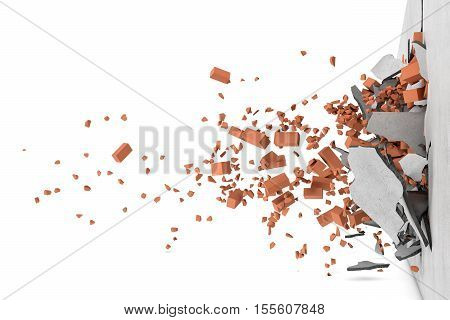 3d rendering of a concrete broken wall with rusty red bricks and their pieces flying apart after a smash, side view. Construction and repair. Building work. Dismantling. Renovation of premises.