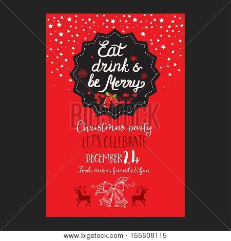 Christmas restaurant brochure menu template. Vector holiday background and design banner. Happy New Year party flyer with hand-drawn xmas graphic.