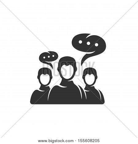 Discussion icon isolated on a white background. People talk logo silhouette design template. Simple symbol concept in flat style. Abstract sign, pictogram for web, mobile and infographics - stock vector