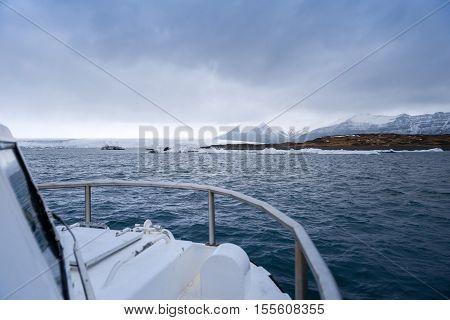 Amphibian boat on jokullsarlon glacial lagoon iceland