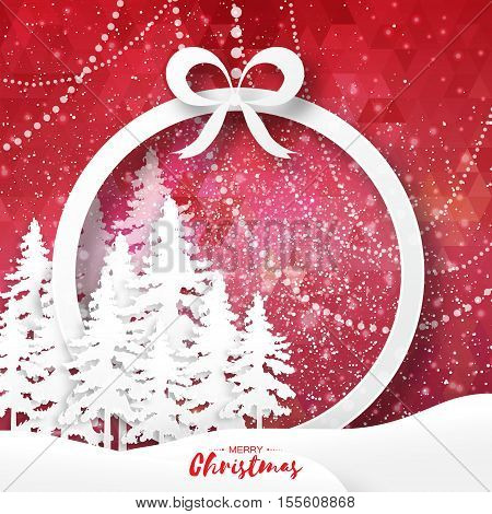 White Origami Merry Christmas Greeting card with Cutout Paper Gift box, Xmas Tree and landscape on red polygonal background. 2017 New Year holiday. Circle Frame for text. Vector seasonal illustration