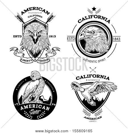 Set of monochrome emblems with eagle crossed arrows shields and ribbon star and leaves isolated vector illustration