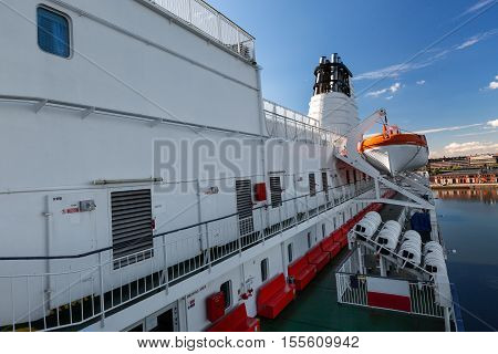 Lifeboats On Upper Deck Of Cruise Ship