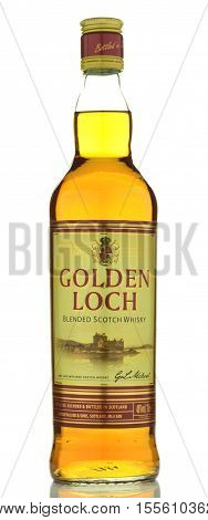 CIRCA OCTOBER 2016 - GDANSK: Golden Loch blended Scotch whisky isolated on white background. Golden Loch is distilled by Graeme McLeod and Sons in Scotland. It is aged in oak casks.