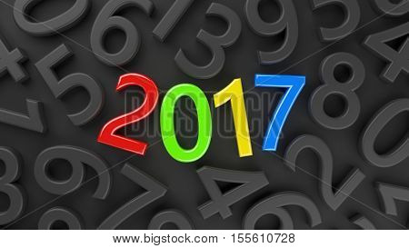 3D abstract illustration of 2017 year on a dark background of numbers