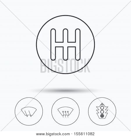 Traffic lights, manual gearbox and wiper icons. Heated window, manual transmission linear signs. Washing window icon. Linear icons in circle buttons. Flat web symbols. Vector