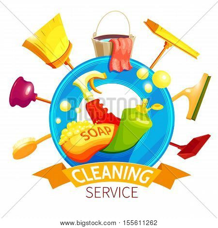 Cleaning logo business composition with cleaner attributes colored and with red ribbon vector illustration