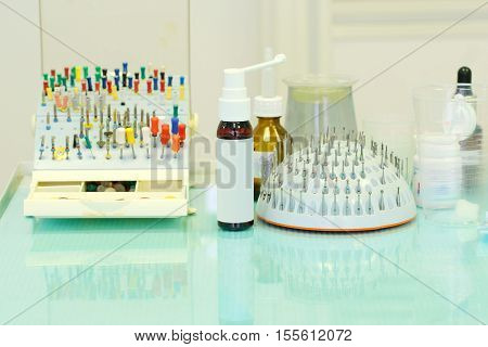 Set of different dentist's tools and meds