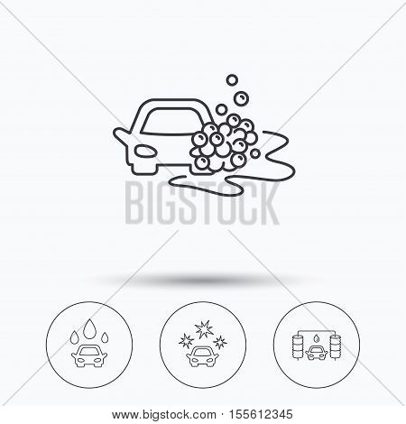 Car wash icons. Automatic cleaning station linear signs. Clean car, automatic carwash flat line icons. Linear icons in circle buttons. Flat web symbols. Vector
