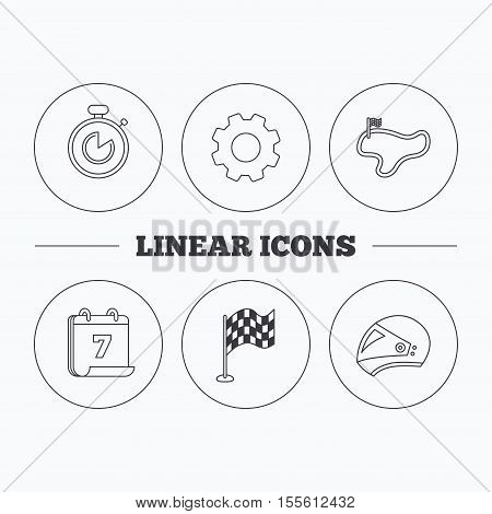 Race flag, timer and motorcycle helmet icons. Race lap linear sign. Flat cogwheel and calendar symbols. Linear icons in circle buttons. Vector