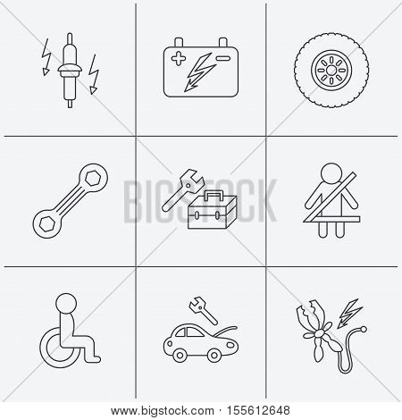 Accumulator, spanner tool and car service icons. Repair toolbox, wheel and spark plug linear signs. Disabled person, battery terminal icons. Linear icons on white background. Vector