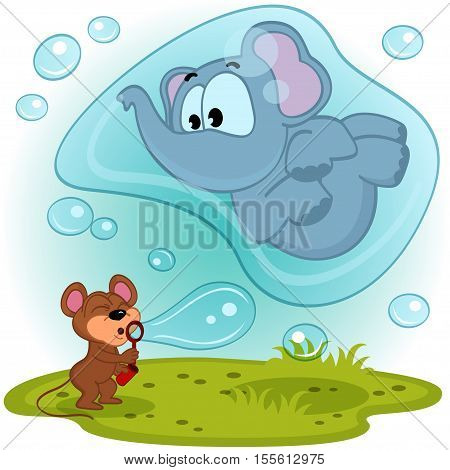 elephant and mouse funny  blow bubbles - vector illustration