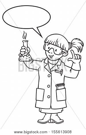 Coloring picture or coloring book of funny chemist. A woman in glasses dressed in a lab coat and gloves with smocking retort. Profession series. Childrens vector illustration. With balloon for text
