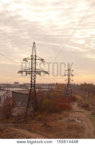 High voltage powerline (electricity transmission towers) - autumn landscape