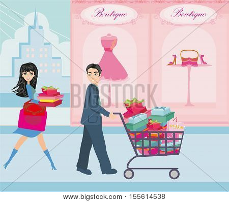 happy couple on Christmas shopping , vector illustration