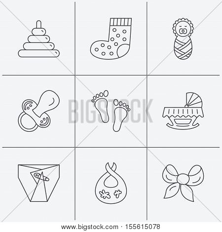 Pacifier, diapers and newborn icons. Footprint, socks and dirty bib linear signs. Pyramid toy, cradle bed flat line icons. Linear icons on white background. Vector