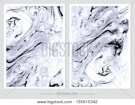Vector. Set of hand drawn watercolor marble textures. Set of cards with gentle marble textures for your design, logo, postcard, invitation, save the date.
