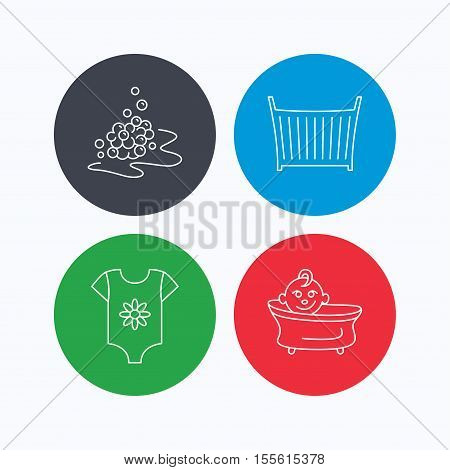 Baby clothes, bath and crib icons. Bath bubbles linear sign. Linear icons on colored buttons. Flat web symbols. Vector
