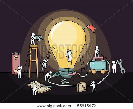 Sketch of lamp idea with crowd of little people. Doodle cute miniature of lamp idea with equipment. Hand drawn cartoon vector illustration for business design.