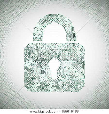 Data protection concept with circuit padlock. Data security icon. Circuit board padlock. Abstract technology background. Vector eps 10