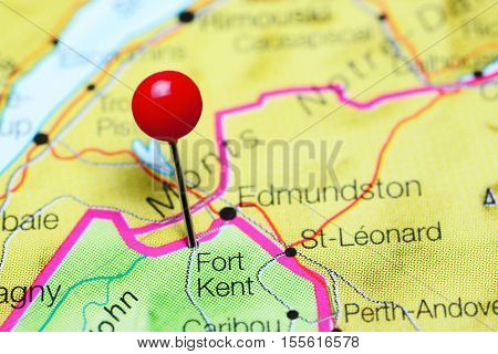 Fort Kent pinned on a map of Maine, USA
