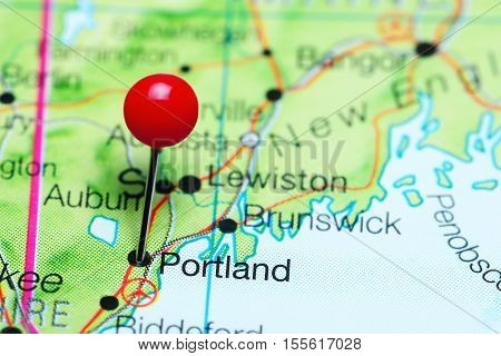 Portland pinned on a map of Maine, USA