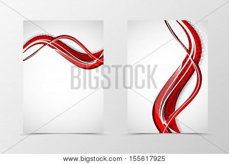 Front and back wave flyer template design. Abstract template with red lines and halftone effect in bright style. Vector illustration