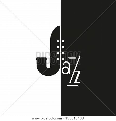 Vintage music icon concept. Freehand drawn style jazz logo. Black white musical instrument emblem. Stylized symbol of saxophone. Abstract sax sign for festival banner background. Vector illustration